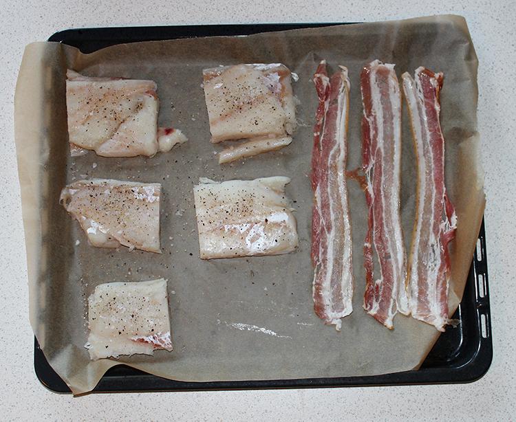 torsk i ovn med bacon